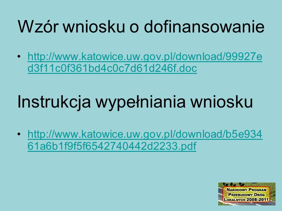 Wzór wniosku o dofinansowanie http://www.katowice.uw.gov.pl/download/99927e d3f11c0f361bd4c0c7d61d246f.dochttp://www.katowice.uw.gov.pl/download/99927e d3f11c0f361bd4c0c7d61d246f.doc Instrukcja wypełniania wniosku http://www.katowice.uw.gov.pl/download/b5e934 61a6b1f9f5f6542740442d2233.pdfhttp://www.katowice.uw.gov.pl/download/b5e934 61a6b1f9f5f6542740442d2233.pdf