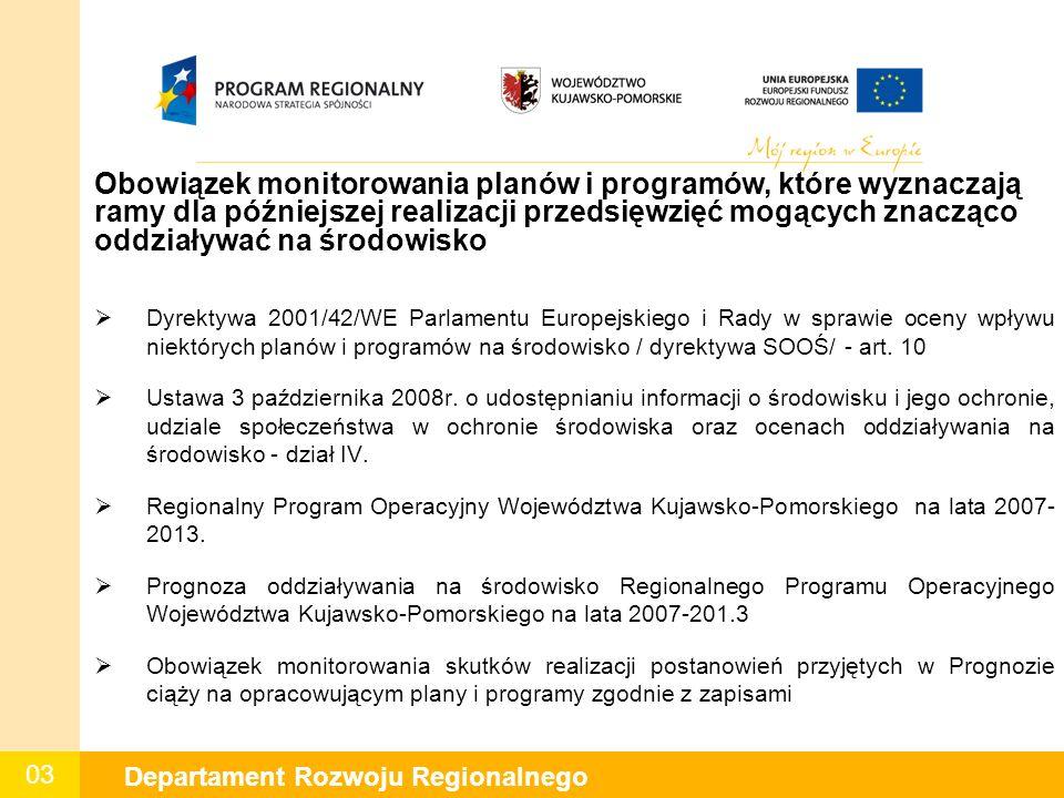 03 Departament Rozwoju Regionalnego Obowiązek monitorowania planów i programów, które wyznaczają ramy dla późniejszej realizacji przedsięwzięć mogących znacząco oddziaływać na środowisko  Dyrektywa 2001/42/WE Parlamentu Europejskiego i Rady w sprawie oceny wpływu niektórych planów i programów na środowisko / dyrektywa SOOŚ/ - art.