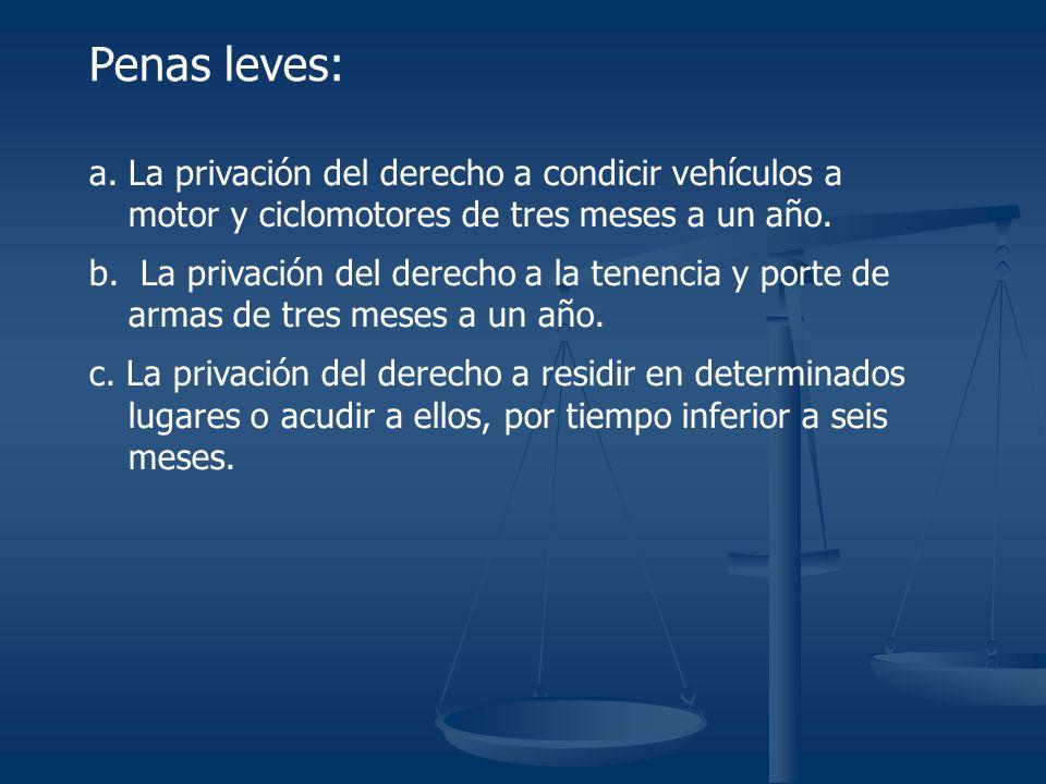 a. La privación del derecho a condicir vehículos a motor y ciclomotores de tres meses a un año.