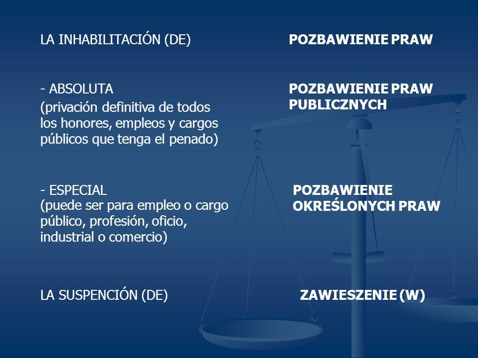 LA INHABILITACIÓN (DE)POZBAWIENIE PRAW - ABSOLUTA (privación definitiva de todos los honores, empleos y cargos públicos que tenga el penado) - ESPECIAL (puede ser para empleo o cargo público, profesión, oficio, industrial o comercio) POZBAWIENIE PRAW PUBLICZNYCH POZBAWIENIE OKREŚLONYCH PRAW LA SUSPENCIÓN (DE)ZAWIESZENIE (W)