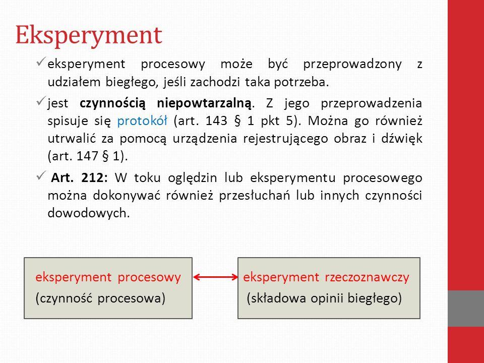 Eksperyment eksperyment procesowy może być przeprowadzony z udziałem biegłego, jeśli zachodzi taka potrzeba.