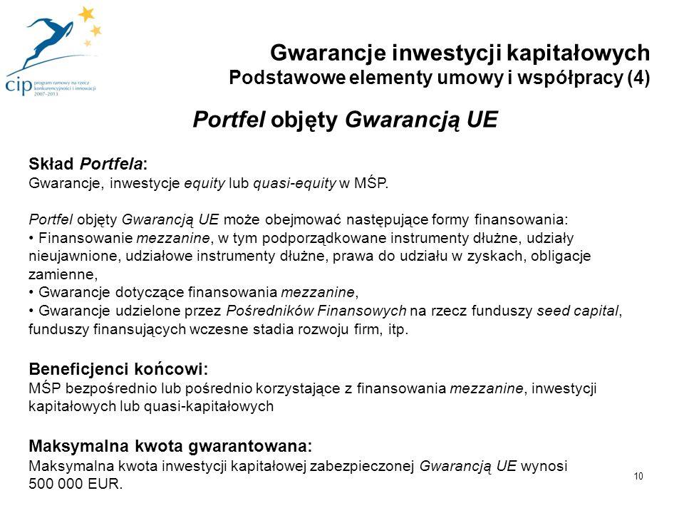 10 Portfel objęty Gwarancją UE Skład Portfela: Gwarancje, inwestycje equity lub quasi-equity w MŚP. Portfel objęty Gwarancją UE może obejmować następu