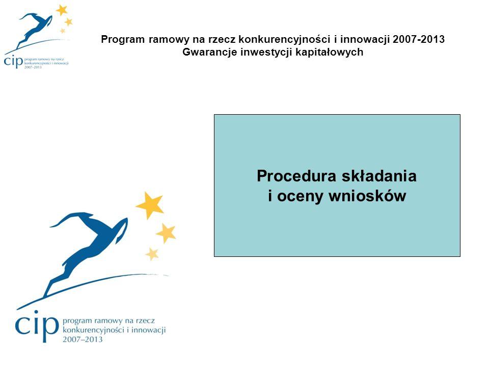 Procedura składania i oceny wniosków Program ramowy na rzecz konkurencyjności i innowacji 2007-2013 Gwarancje inwestycji kapitałowych
