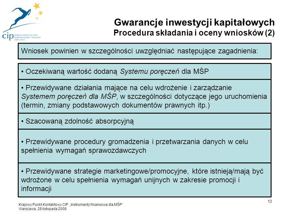 """Wniosek powinien w szczególności uwzględniać następujące zagadnienia: Oczekiwaną wartość dodaną Systemu poręczeń dla MŚP Przewidywane działania mające na celu wdrożenie i zarządzanie Systemem poręczeń dla MŚP, w szczególności dotyczące jego uruchomienia (termin, zmiany podstawowych dokumentów prawnych itp.) Szacowaną zdolność absorpcyjną Przewidywane procedury gromadzenia i przetwarzania danych w celu spełnienia wymagań sprawozdawczych Przewidywane strategie marketingowe/promocyjne, które istnieją/mają być wdrożone w celu spełnienia wymagań unijnych w zakresie promocji i informacji 13 Gwarancje inwestycji kapitałowych Procedura składania i oceny wniosków (2) Krajowy Punkt Kontaktowy CIP """"Instrumenty finansowe dla MŚP Warszawa, 28 listopada 2008"""