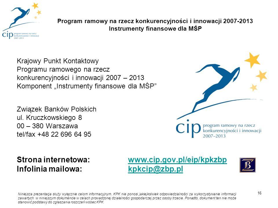 """Krajowy Punkt Kontaktowy Programu ramowego na rzecz konkurencyjności i innowacji 2007 – 2013 Komponent """"Instrumenty finansowe dla MŚP"""" Związek Banków"""
