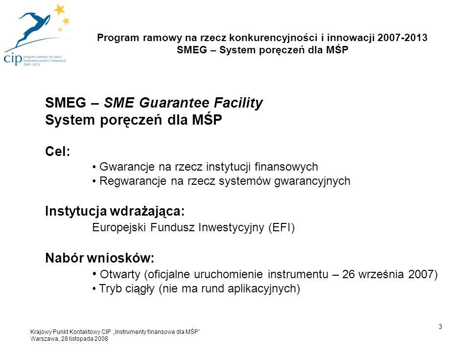 3 SMEG – SME Guarantee Facility System poręczeń dla MŚP Cel: Gwarancje na rzecz instytucji finansowych Regwarancje na rzecz systemów gwarancyjnych Ins