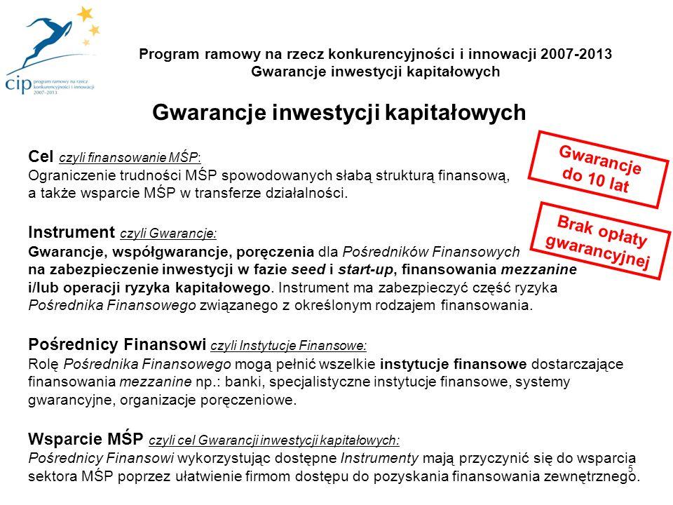 5 Program ramowy na rzecz konkurencyjności i innowacji 2007-2013 Gwarancje inwestycji kapitałowych Gwarancje inwestycji kapitałowych Cel czyli finansowanie MŚP: Ograniczenie trudności MŚP spowodowanych słabą strukturą finansową, a także wsparcie MŚP w transferze działalności.