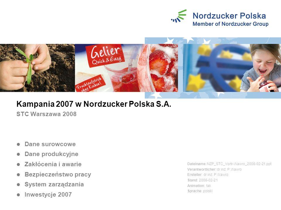 Kampania 2007 w Nordzucker Polska S.A. STC Warszawa 2008 Dateiname: NZP_STC_Vortr-Wawro_2008-02-21.ppt Verantwortlicher: dr inż. P.Wawro Ersteller: dr