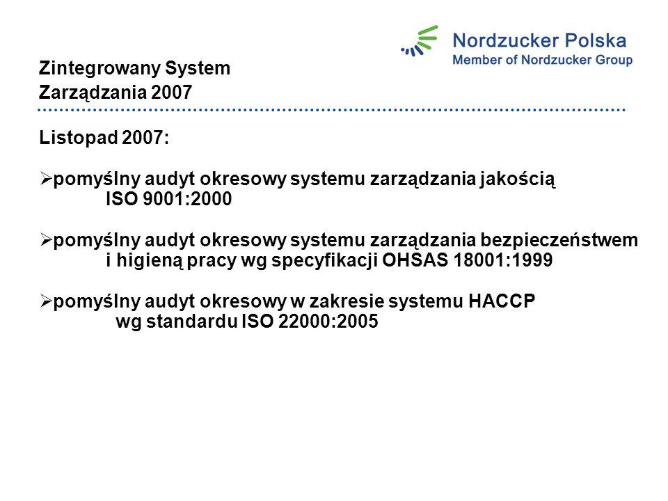 Zintegrowany System Zarządzania 2007 Listopad 2007:  pomyślny audyt okresowy systemu zarządzania jakością ISO 9001:2000  pomyślny audyt okresowy systemu zarządzania bezpieczeństwem i higieną pracy wg specyfikacji OHSAS 18001:1999  pomyślny audyt okresowy w zakresie systemu HACCP wg standardu ISO 22000:2005