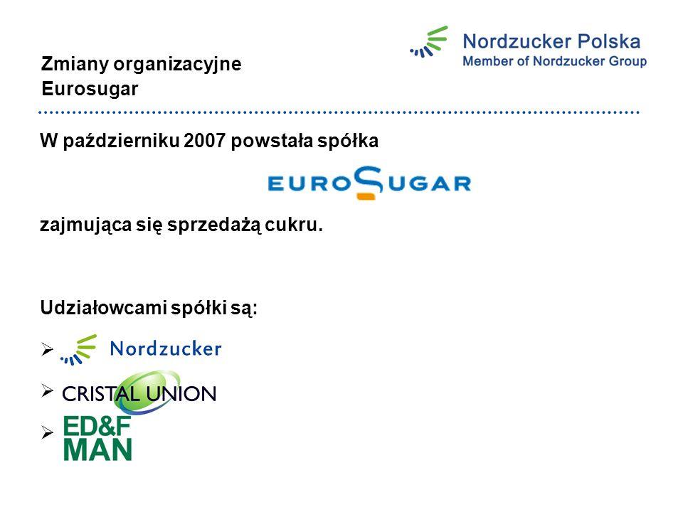 Zmiany organizacyjne Eurosugar W październiku 2007 powstała spółka zajmująca się sprzedażą cukru.