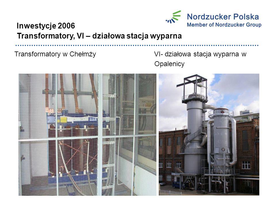 Inwestycje 2006 Transformatory, VI – działowa stacja wyparna Transformatory w Chełmży VI- działowa stacja wyparna w Opalenicy