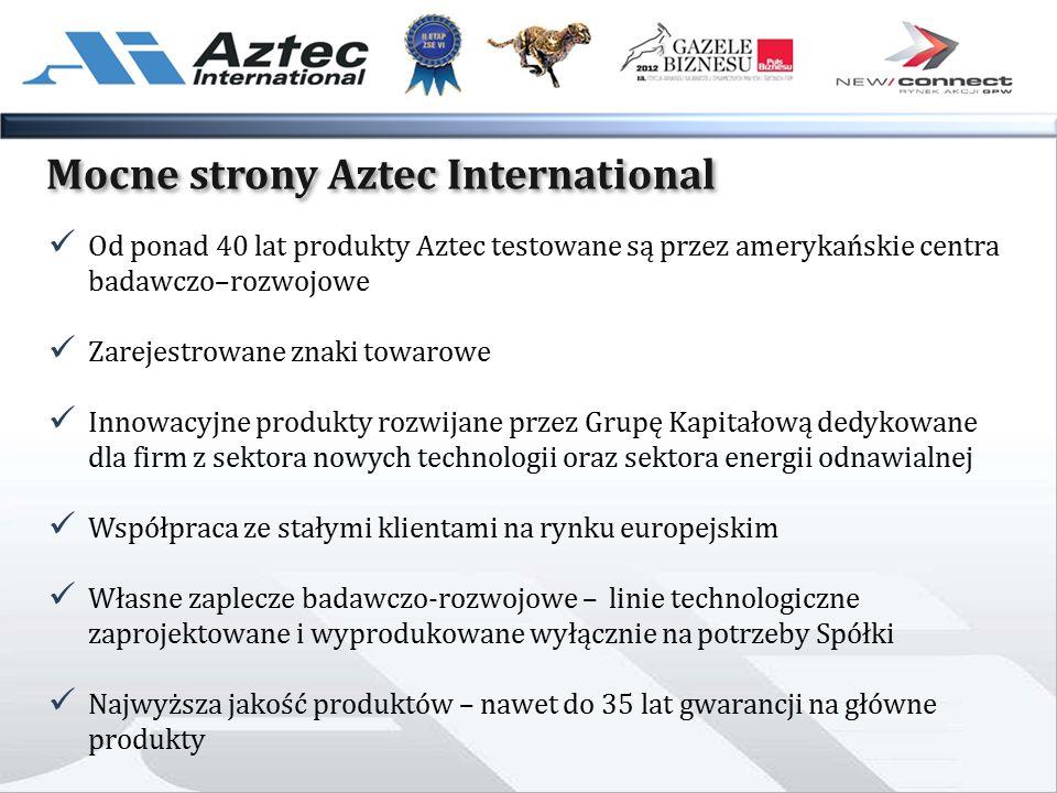 Mocne strony Aztec International Od ponad 40 lat produkty Aztec testowane są przez amerykańskie centra badawczo–rozwojowe Zarejestrowane znaki towarowe Innowacyjne produkty rozwijane przez Grupę Kapitałową dedykowane dla firm z sektora nowych technologii oraz sektora energii odnawialnej Współpraca ze stałymi klientami na rynku europejskim Własne zaplecze badawczo-rozwojowe – linie technologiczne zaprojektowane i wyprodukowane wyłącznie na potrzeby Spółki Najwyższa jakość produktów – nawet do 35 lat gwarancji na główne produkty