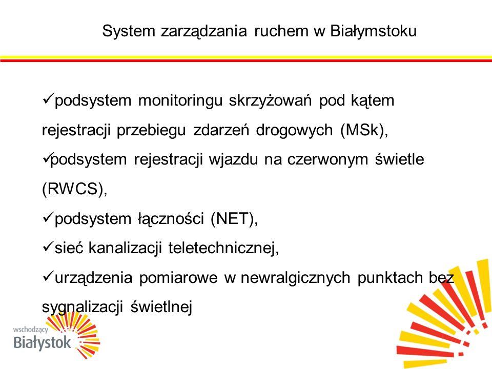 System zarządzania ruchem w Białymstoku podsystem monitoringu skrzyżowań pod kątem rejestracji przebiegu zdarzeń drogowych (MSk), podsystem rejestracji wjazdu na czerwonym świetle (RWCS), podsystem łączności (NET), sieć kanalizacji teletechnicznej, urządzenia pomiarowe w newralgicznych punktach bez sygnalizacji świetlnej