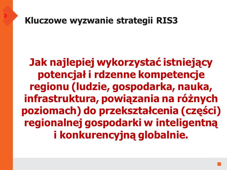 Kluczowe wyzwanie strategii RIS3 Jak najlepiej wykorzystać istniejący potencjał i rdzenne kompetencje regionu (ludzie, gospodarka, nauka, infrastruktura, powiązania na różnych poziomach) do przekształcenia (części) regionalnej gospodarki w inteligentną i konkurencyjną globalnie.