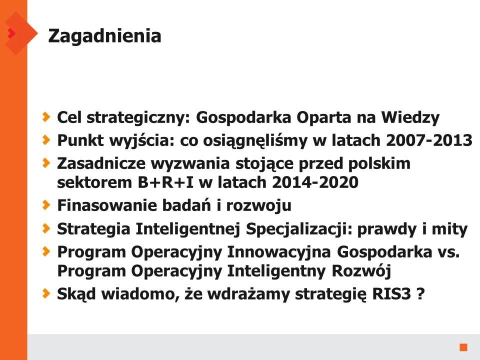 Zagadnienia Cel strategiczny: Gospodarka Oparta na Wiedzy Punkt wyjścia: co osiągnęliśmy w latach 2007-2013 Zasadnicze wyzwania stojące przed polskim sektorem B+R+I w latach 2014-2020 Finasowanie badań i rozwoju Strategia Inteligentnej Specjalizacji: prawdy i mity Program Operacyjny Innowacyjna Gospodarka vs.