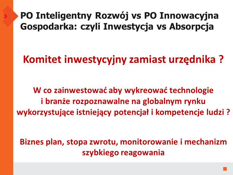 PO Inteligentny Rozwój vs PO Innowacyjna Gospodarka: czyli Inwestycja vs Absorpcja Komitet inwestycyjny zamiast urzędnika .