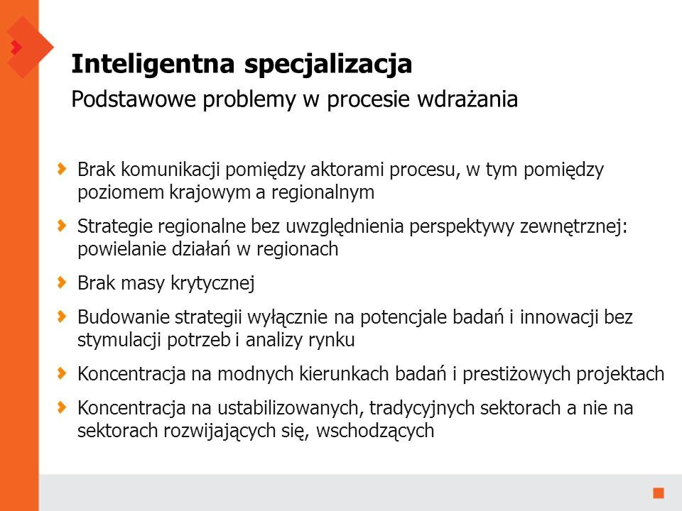 Inteligentna specjalizacja Podstawowe problemy w procesie wdrażania Brak komunikacji pomiędzy aktorami procesu, w tym pomiędzy poziomem krajowym a regionalnym Strategie regionalne bez uwzględnienia perspektywy zewnętrznej: powielanie działań w regionach Brak masy krytycznej Budowanie strategii wyłącznie na potencjale badań i innowacji bez stymulacji potrzeb i analizy rynku Koncentracja na modnych kierunkach badań i prestiżowych projektach Koncentracja na ustabilizowanych, tradycyjnych sektorach a nie na sektorach rozwijających się, wschodzących