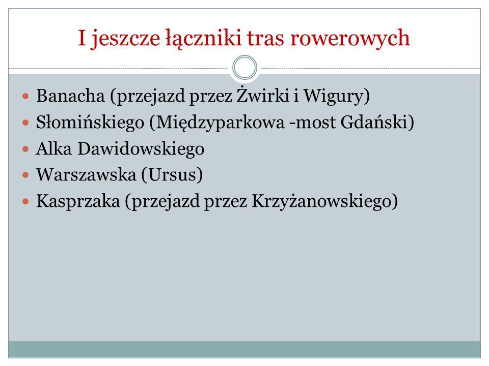 I jeszcze łączniki tras rowerowych Banacha (przejazd przez Żwirki i Wigury) Słomińskiego (Międzyparkowa -most Gdański) Alka Dawidowskiego Warszawska (Ursus) Kasprzaka (przejazd przez Krzyżanowskiego)
