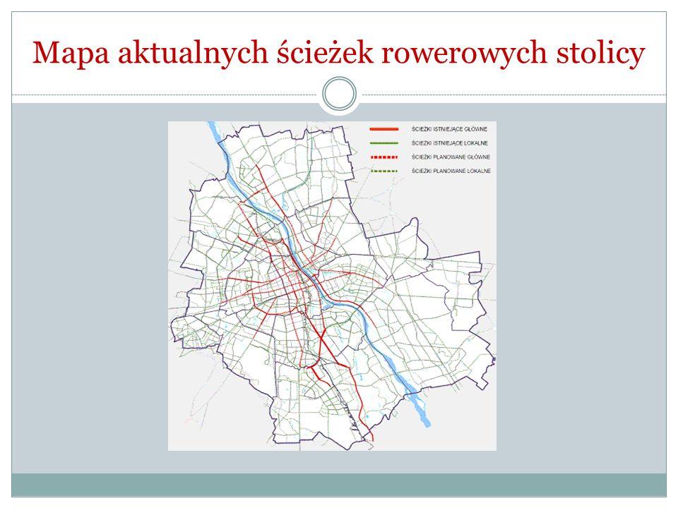 Mapa aktualnych ścieżek rowerowych stolicy