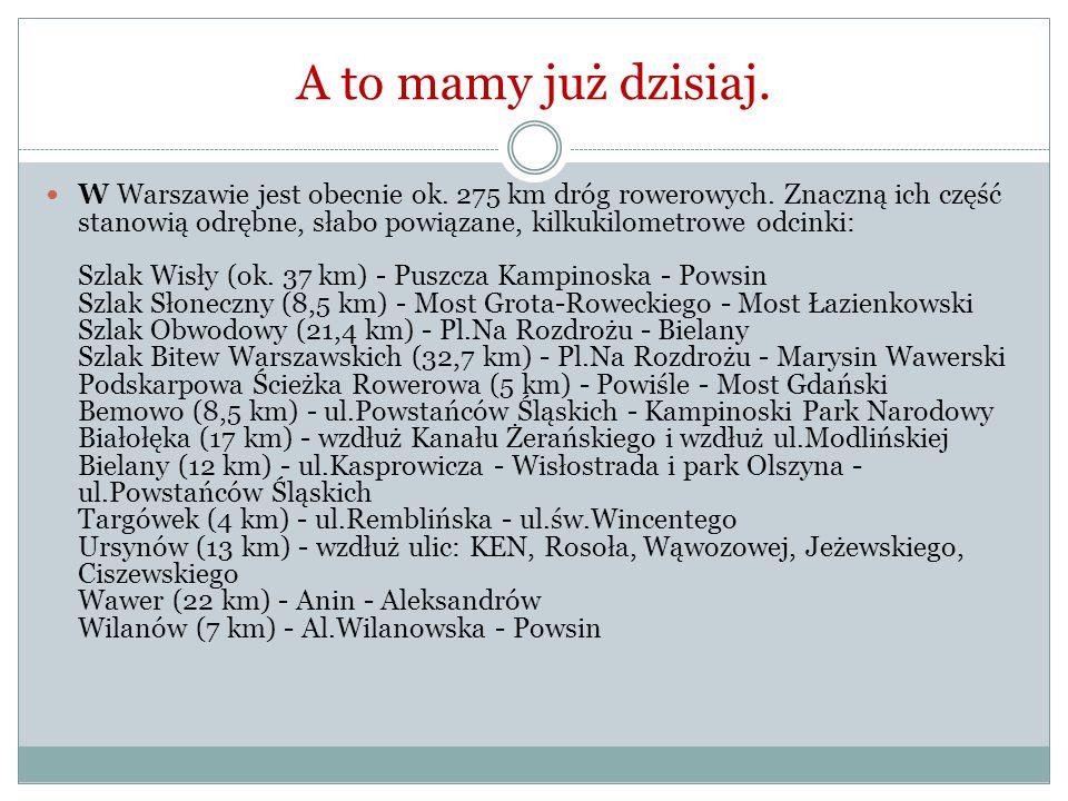 A to mamy już dzisiaj. W Warszawie jest obecnie ok.