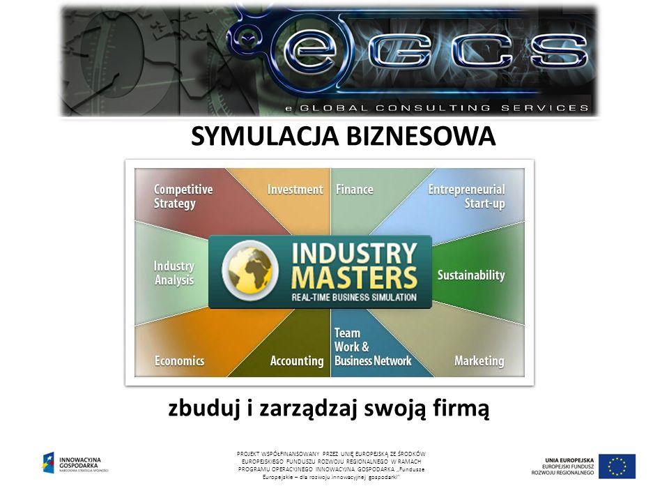 """SYMULACJA BIZNESOWA zbuduj i zarządzaj swoją firmą PROJEKT WSPÓŁFINANSOWANY PRZEZ UNIĘ EUROPEJSKĄ ZE ŚRODKÓW EUROPEJSKIEGO FUNDUSZU ROZWOJU REGIONALNEGO W RAMACH PROGRAMU OPERACYJNEGO INNOWACYJNA GOSPODARKA """"Fundusze Europejskie – dla rozwoju innowacyjnej gospodarki"""