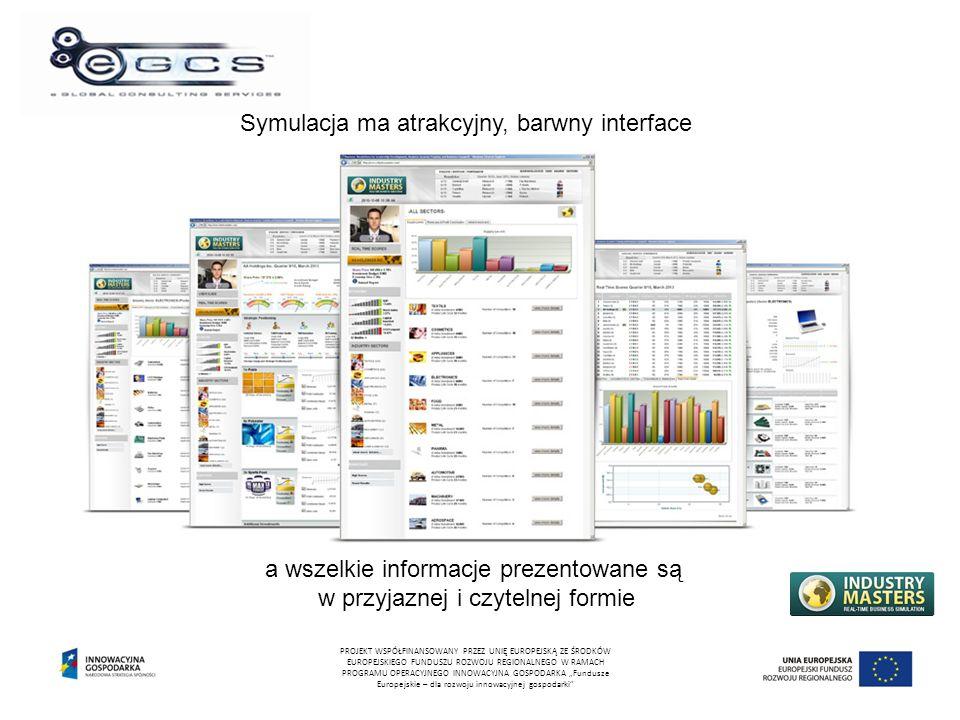 """Symulacja ma atrakcyjny, barwny interface a wszelkie informacje prezentowane są w przyjaznej i czytelnej formie PROJEKT WSPÓŁFINANSOWANY PRZEZ UNIĘ EUROPEJSKĄ ZE ŚRODKÓW EUROPEJSKIEGO FUNDUSZU ROZWOJU REGIONALNEGO W RAMACH PROGRAMU OPERACYJNEGO INNOWACYJNA GOSPODARKA """"Fundusze Europejskie – dla rozwoju innowacyjnej gospodarki"""