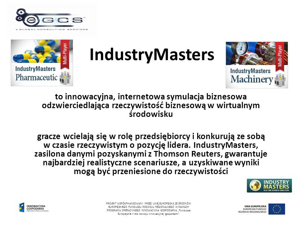 IndustryMasters to innowacyjna, internetowa symulacja biznesowa odzwierciedlająca rzeczywistość biznesową w wirtualnym środowisku gracze wcielają się w rolę przedsiębiorcy i konkurują ze sobą w czasie rzeczywistym o pozycję lidera.