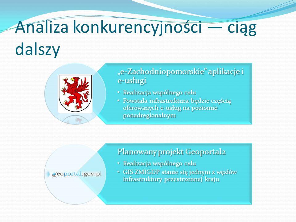 """Analiza konkurencyjności — ciąg dalszy """"e-Zachodniopomorskie aplikacje i e-usługi Realizacja wspólnego celuRealizacja wspólnego celu Powstała infrastruktura będzie częścią oferowanych e-usług na poziomie ponadregionalnymPowstała infrastruktura będzie częścią oferowanych e-usług na poziomie ponadregionalnym Planowany projekt Geoportal2 Realizacja wspólnego celuRealizacja wspólnego celu GIS ZMIGDP stanie się jednym z węzłów infrastruktury przestrzennej krajuGIS ZMIGDP stanie się jednym z węzłów infrastruktury przestrzennej kraju"""