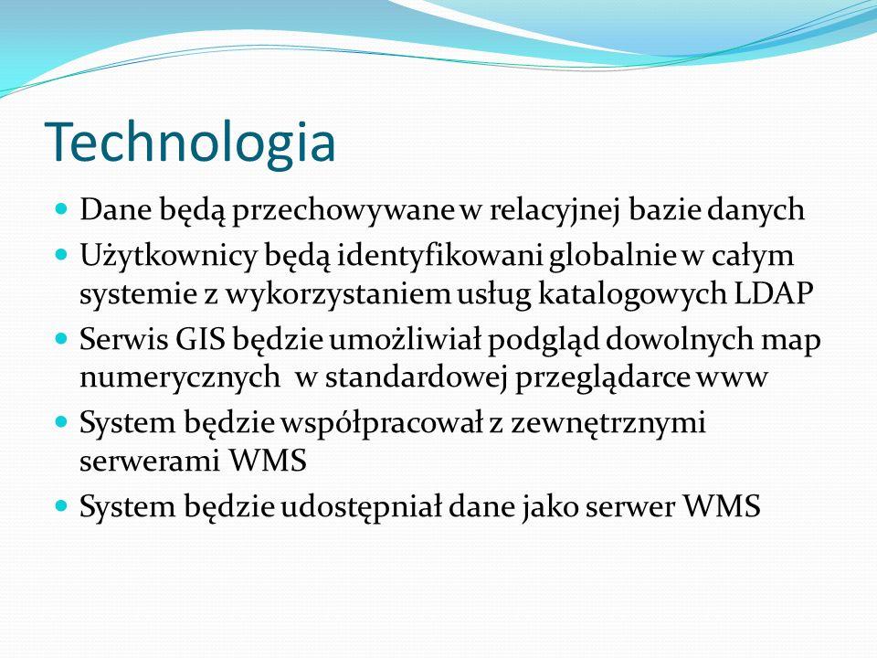 Technologia Dane będą przechowywane w relacyjnej bazie danych Użytkownicy będą identyfikowani globalnie w całym systemie z wykorzystaniem usług katalogowych LDAP Serwis GIS będzie umożliwiał podgląd dowolnych map numerycznych w standardowej przeglądarce www System będzie współpracował z zewnętrznymi serwerami WMS System będzie udostępniał dane jako serwer WMS