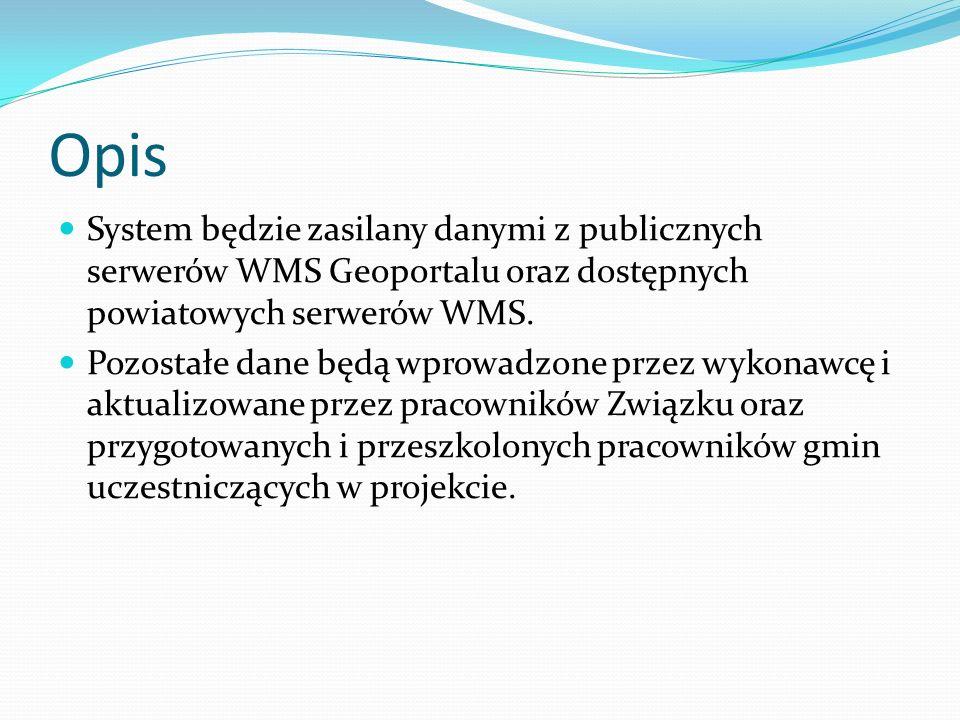 Opis System będzie zasilany danymi z publicznych serwerów WMS Geoportalu oraz dostępnych powiatowych serwerów WMS.