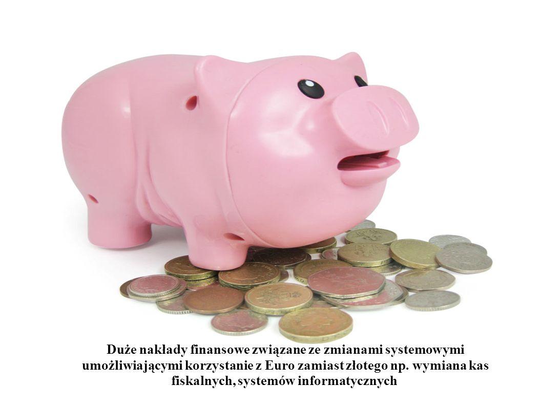Duże nakłady finansowe związane ze zmianami systemowymi umożliwiającymi korzystanie z Euro zamiast złotego np.