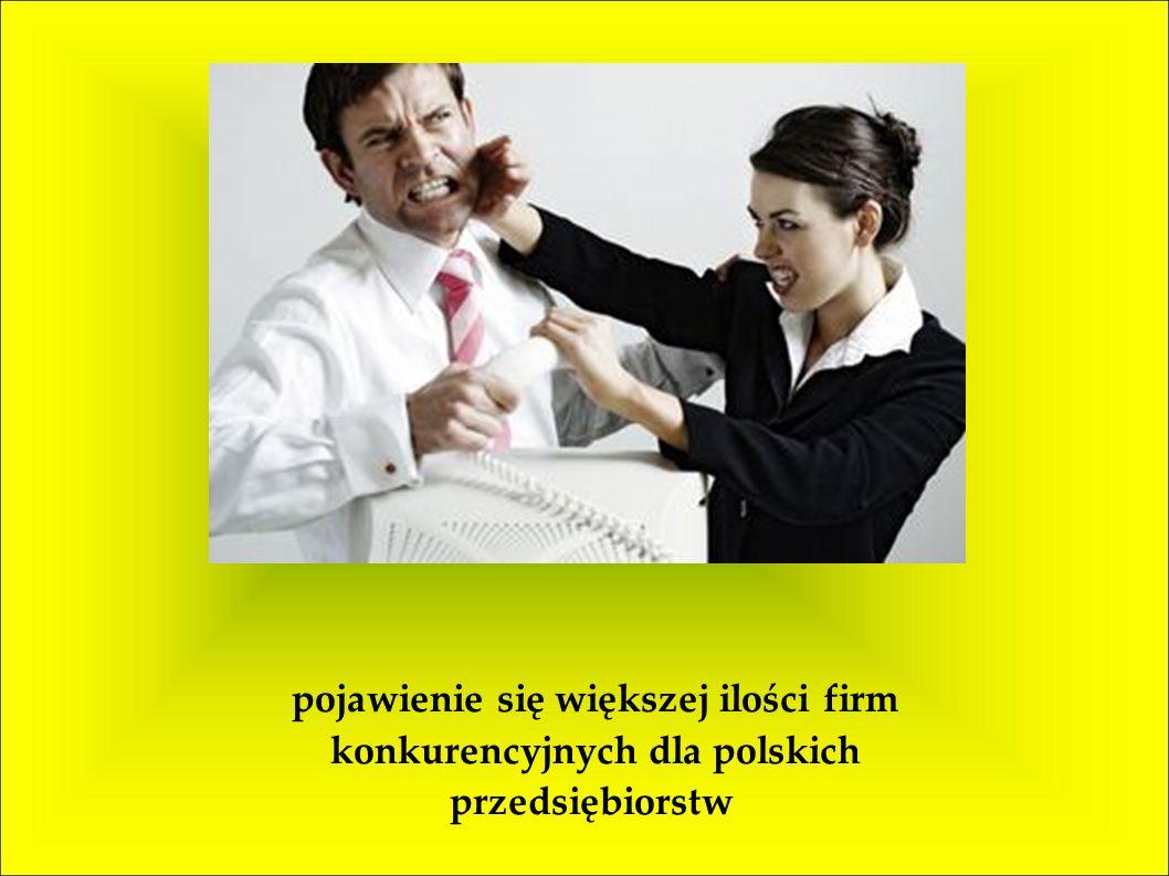pojawienie się większej ilości firm konkurencyjnych dla polskich przedsiębiorstw