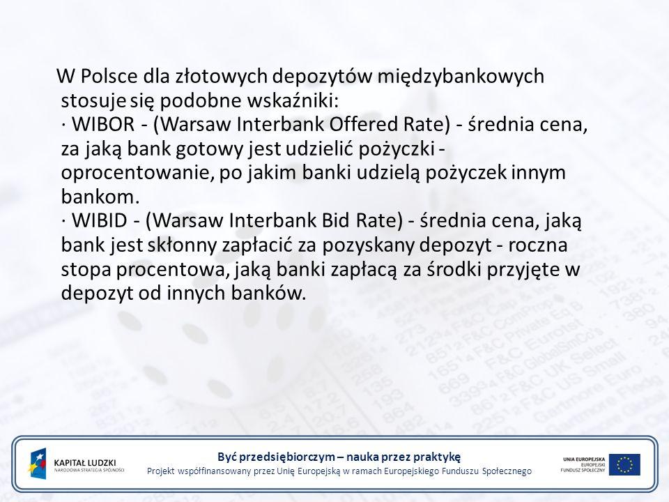 Być przedsiębiorczym – nauka przez praktykę Projekt współfinansowany przez Unię Europejską w ramach Europejskiego Funduszu Społecznego W Polsce dla zł