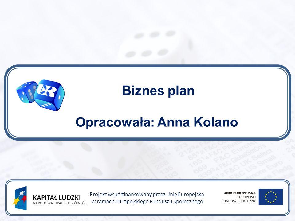Biznes plan Opracowała: Anna Kolano Projekt współfinansowany przez Unię Europejską w ramach Europejskiego Funduszu Społecznego