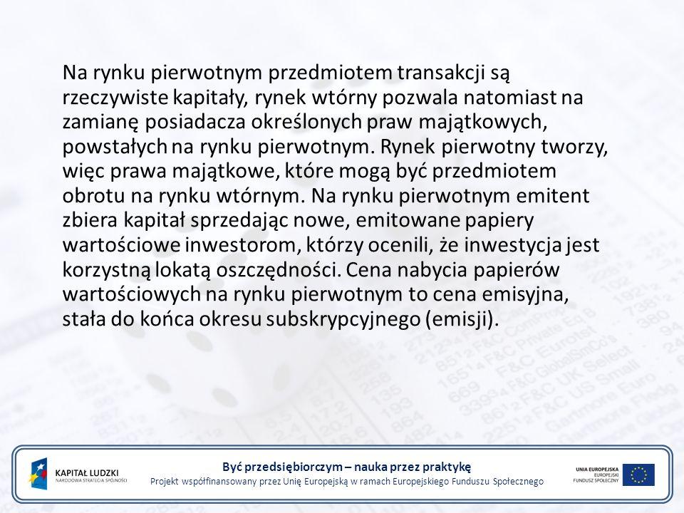 Być przedsiębiorczym – nauka przez praktykę Projekt współfinansowany przez Unię Europejską w ramach Europejskiego Funduszu Społecznego Na rynku pierwo