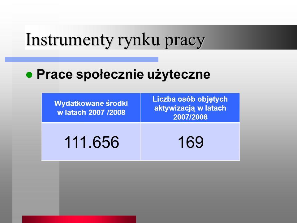 Instrumenty rynku pracy Prace społecznie użyteczne Wydatkowane środki w latach 2007 /2008 Liczba osób objętych aktywizacją w latach 2007/2008 111.656169