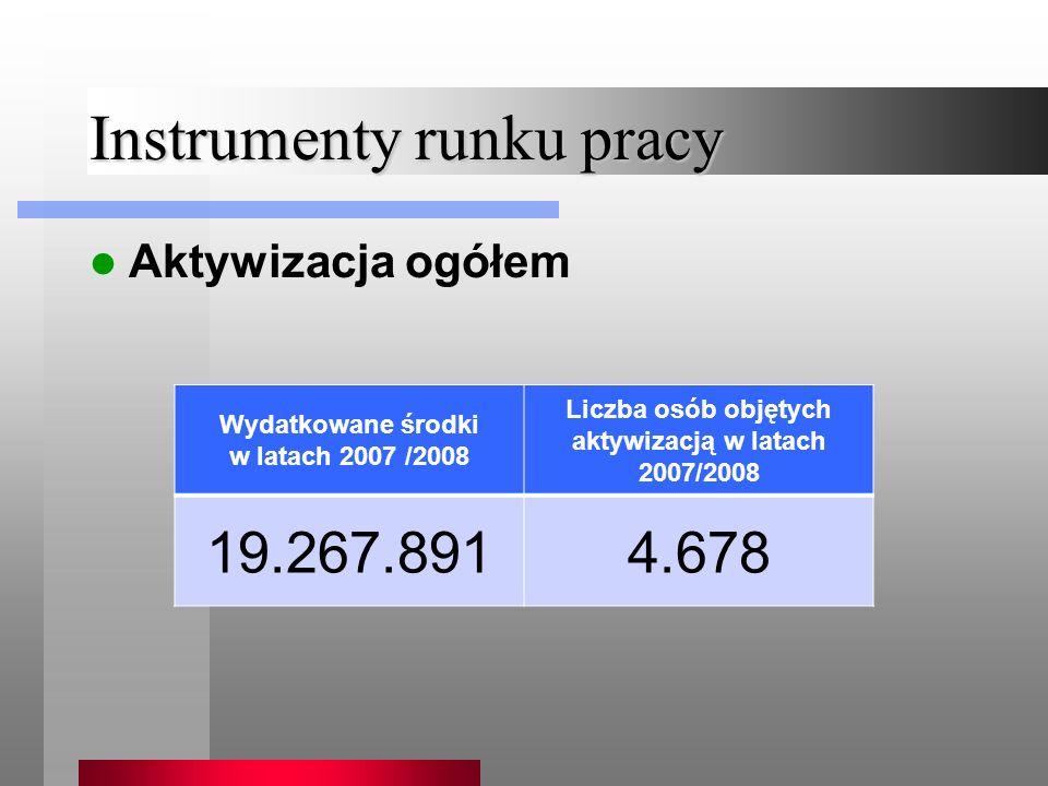 Instrumenty runku pracy Aktywizacja ogółem Wydatkowane środki w latach 2007 /2008 Liczba osób objętych aktywizacją w latach 2007/2008 19.267.8914.678