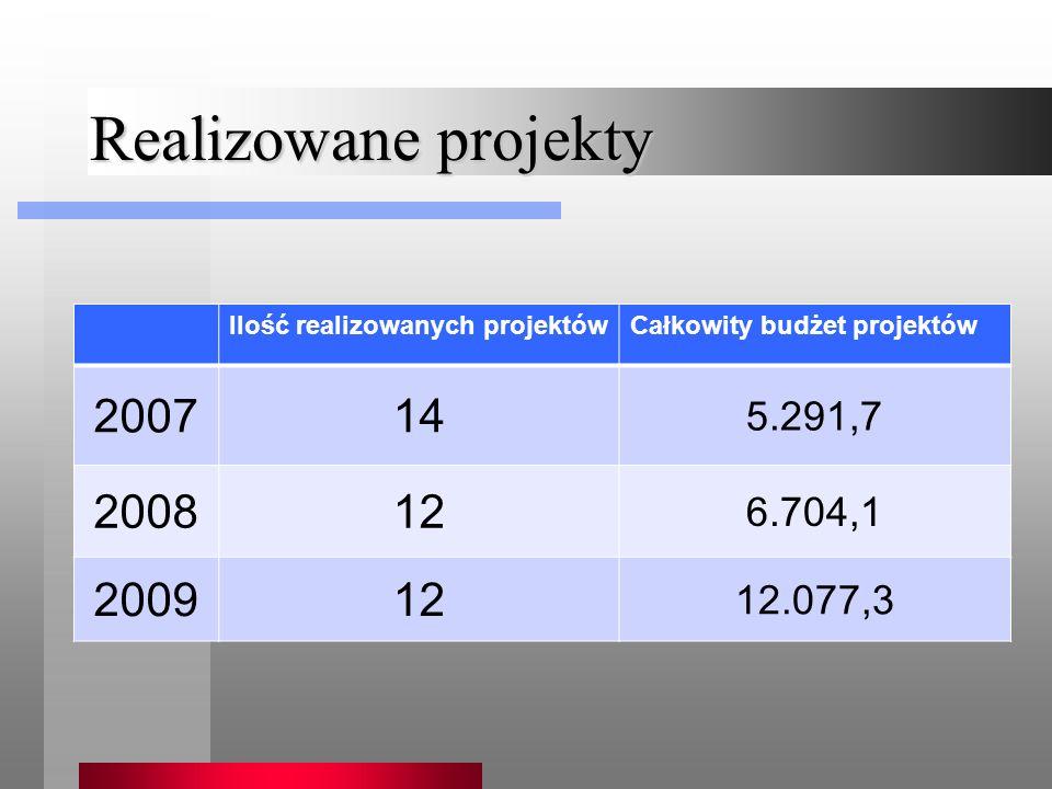 Realizowane projekty Ilość realizowanych projektówCałkowity budżet projektów 200714 5.291,7 200812 6.704,1 200912 12.077,3
