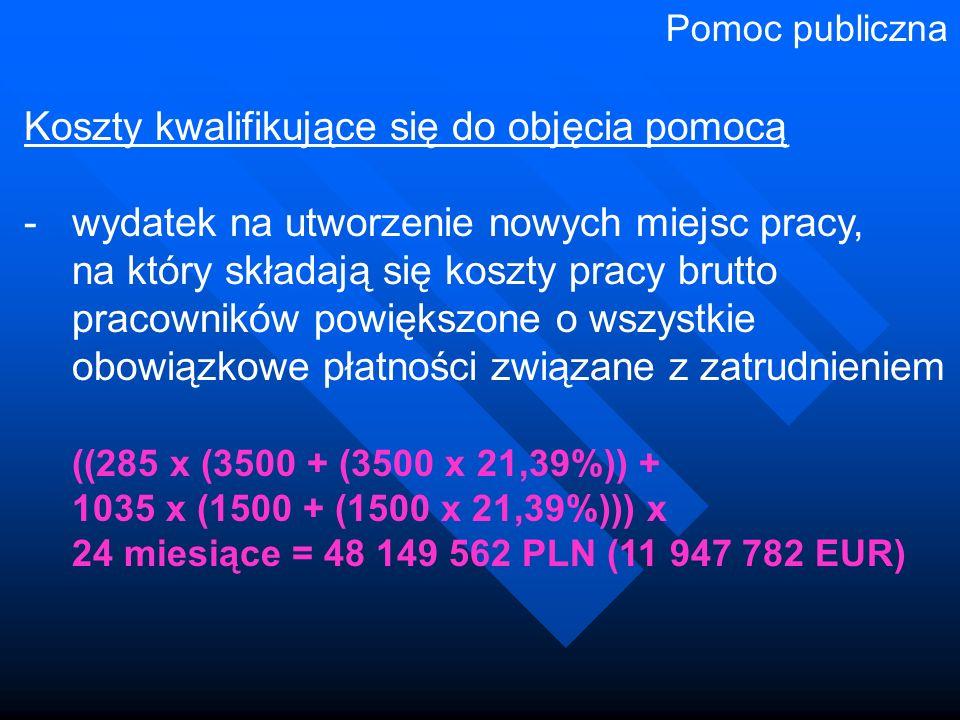 Koszty kwalifikujące się do objęcia pomocą -wydatek na utworzenie nowych miejsc pracy, na który składają się koszty pracy brutto pracowników powiększone o wszystkie obowiązkowe płatności związane z zatrudnieniem ((285 x (3500 + (3500 x 21,39%)) + 1035 x (1500 + (1500 x 21,39%))) x 24 miesiące = 48 149 562 PLN (11 947 782 EUR) Pomoc publiczna