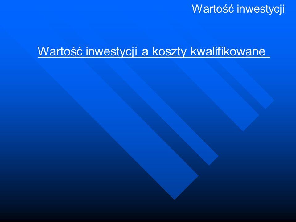 Wartość inwestycji Wartość inwestycji a koszty kwalifikowane