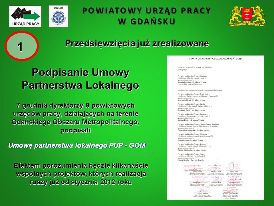 POWIATOWY URZĄD PRACY W GDAŃSKU Przedsięwzięcia już zrealizowane 7 grudnia dyrektorzy 8 powiatowych urzędów pracy, działających na terenie Gdańskiego Obszaru Metropolitalnego, podpisali Umowę partnerstwa lokalnego PUP - GOM Efektem porozumienia będzie kilkanaście wspólnych projektów, których realizacja ruszy już od stycznia 2012 roku Podpisanie Umowy Partnerstwa Lokalnego 1