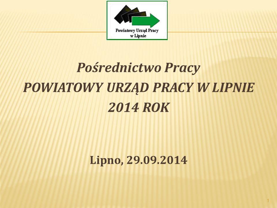Pośrednictwo Pracy POWIATOWY URZĄD PRACY W LIPNIE 2014 ROK Lipno, 29.09.2014 1