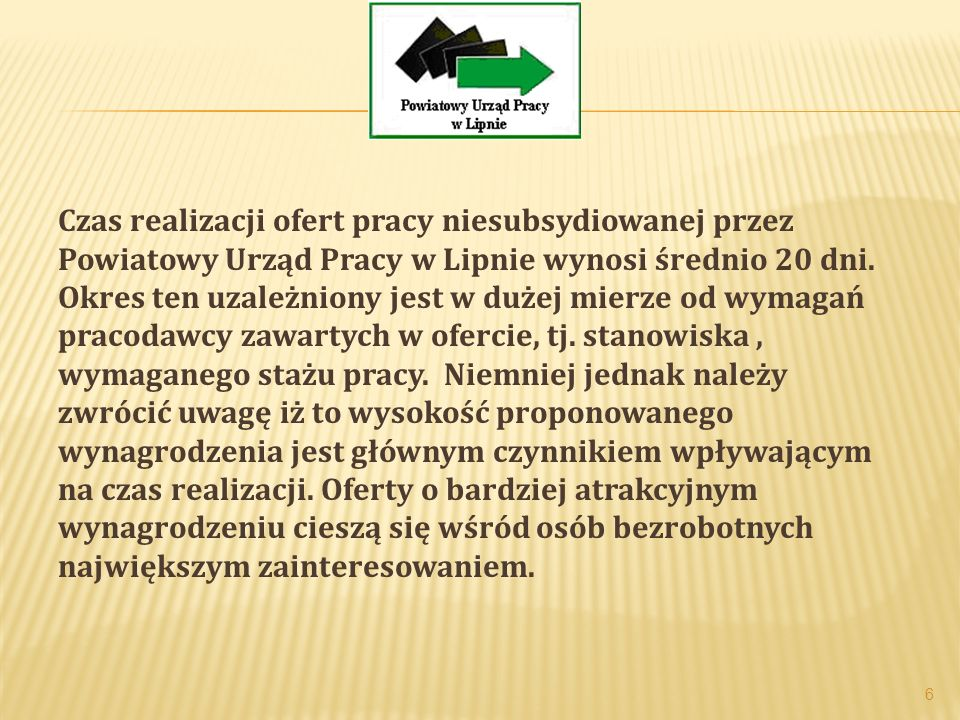 Czas realizacji ofert pracy niesubsydiowanej przez Powiatowy Urząd Pracy w Lipnie wynosi średnio 20 dni.