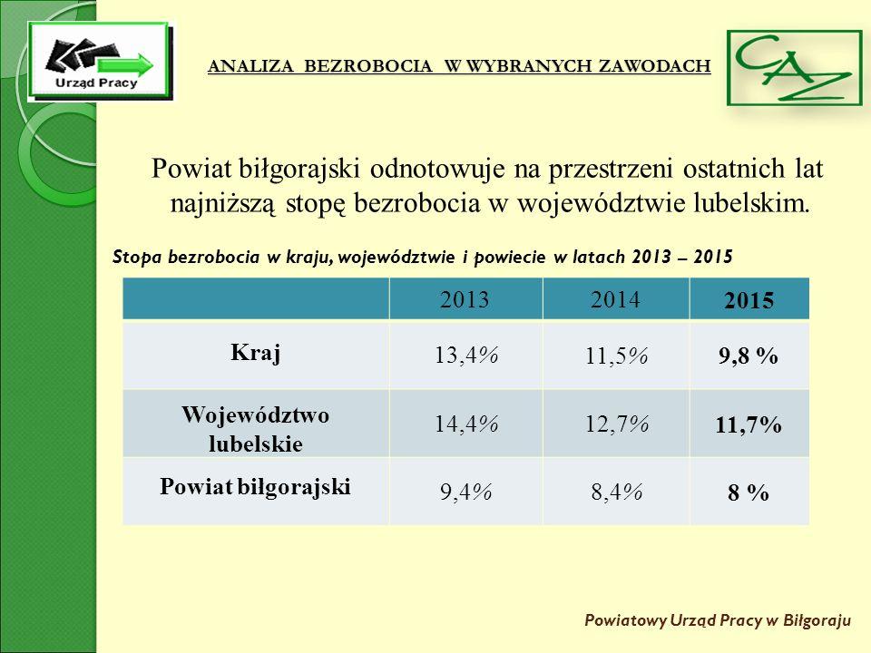 ANALIZA BEZROBOCIA W WYBRANYCH ZAWODACH Powiatowy Urząd Pracy w Biłgoraju W strukturze wiekowej bezrobotnych zauważa się zdecydowaną przewagę ludzi młodych w wieku do 34 lat.