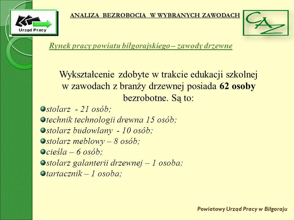 ANALIZA BEZROBOCIA W WYBRANYCH ZAWODACH Powiatowy Urząd Pracy w Biłgoraju Rynek pracy powiatu biłgorajskiego – zawody drzewne Wykształcenie zdobyte w trakcie edukacji szkolnej w zawodach z branży drzewnej posiada 62 osoby bezrobotne.