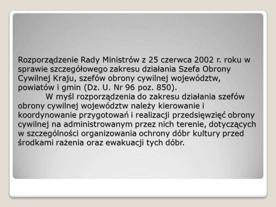 Rozporządzenie Rady Ministrów z 25 czerwca 2002 r.