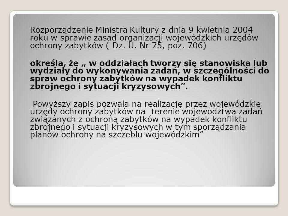 Rozporządzenie Ministra Kultury z dnia 9 kwietnia 2004 roku w sprawie zasad organizacji wojewódzkich urzędów ochrony zabytków ( Dz.
