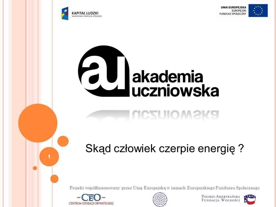 Projekt współfinansowany przez Unię Europejską w ramach Europejskiego Funduszu Społecznego Skąd człowiek czerpie energię .