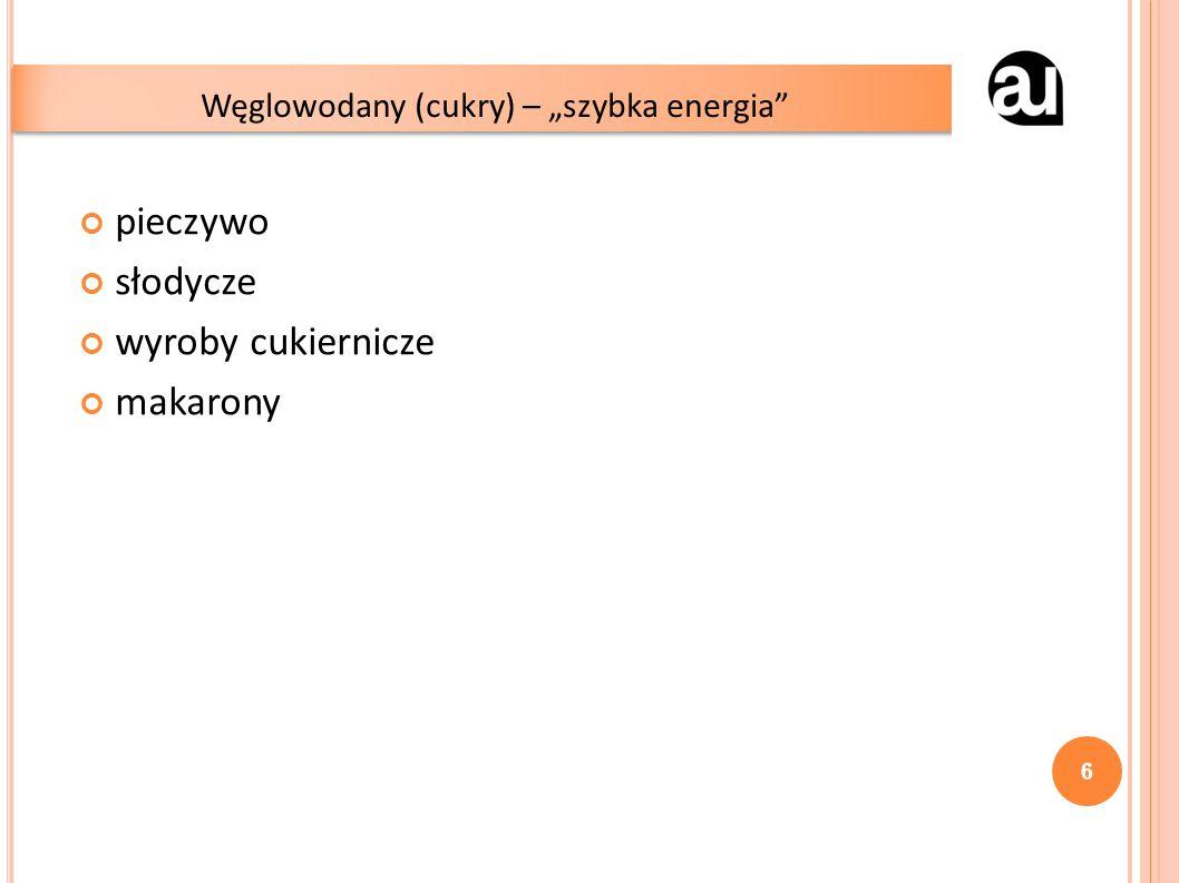"""pieczywo słodycze wyroby cukiernicze makarony Węglowodany (cukry) – """"szybka energia 6"""