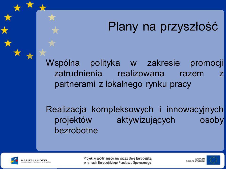 Plany na przyszłość Wspólna polityka w zakresie promocji zatrudnienia realizowana razem z partnerami z lokalnego rynku pracy Realizacja kompleksowych i innowacyjnych projektów aktywizujących osoby bezrobotne